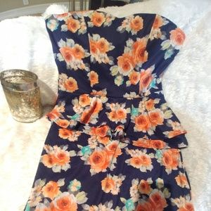 Blue Floral Strapless Dress. Size Large